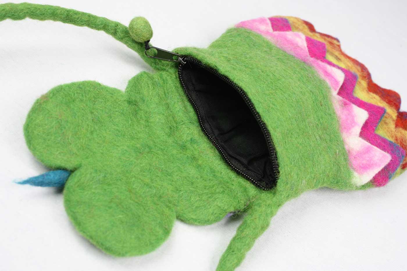 Filztasche EULE  grün   bunt