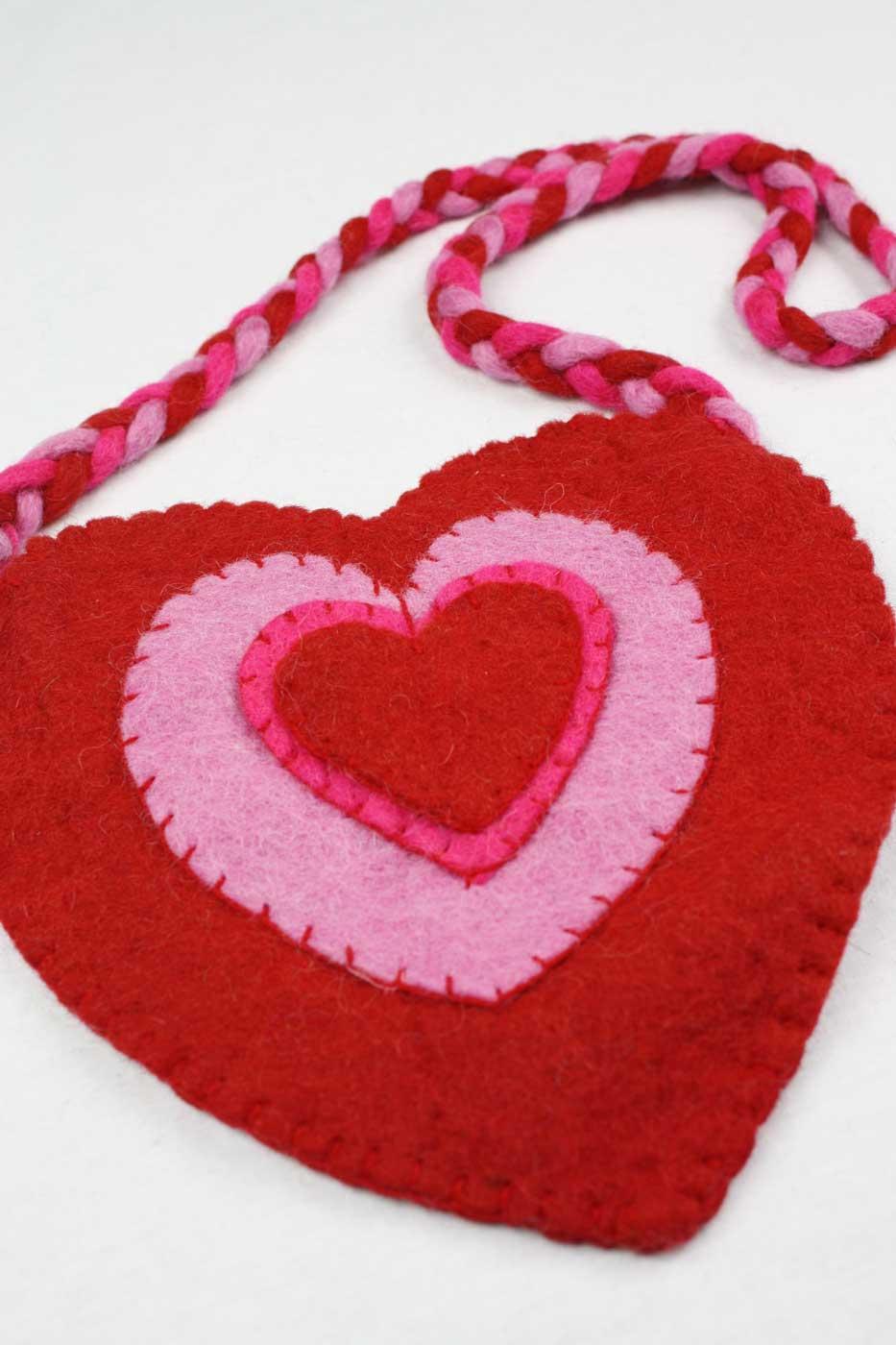 Filztasche HERZ  rot   rosa