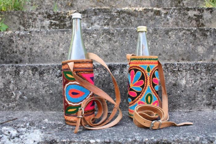 Flaschenhalter aus besticktem Leder Unisex