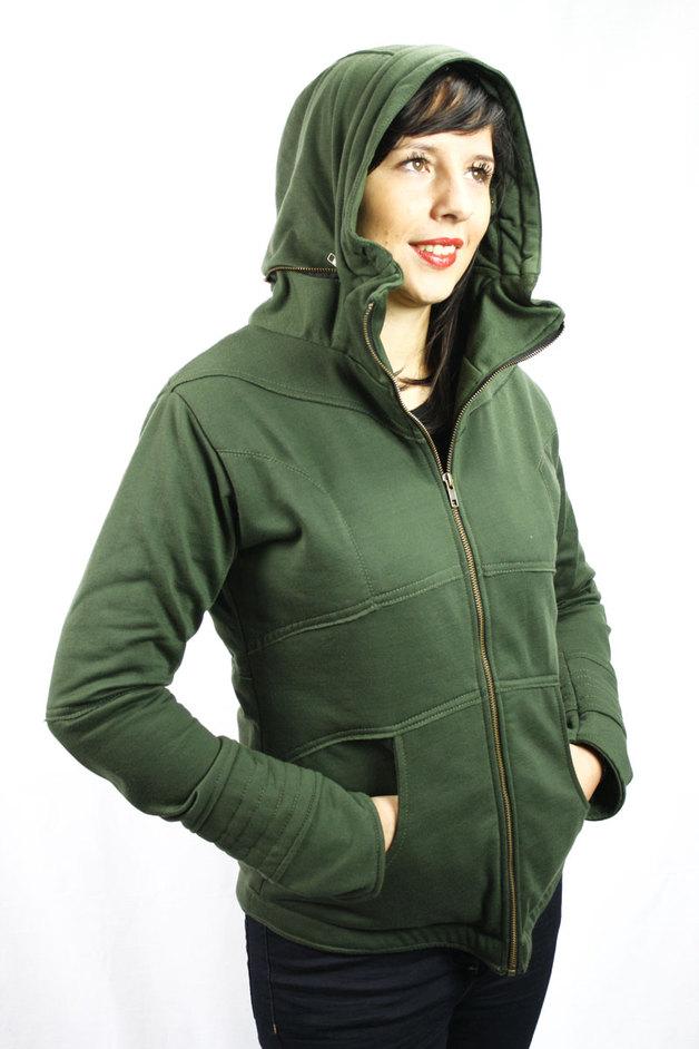 Hoodie Sweatjacke Damen Grün