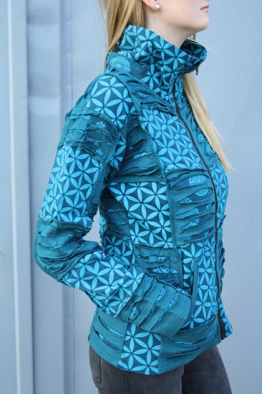 Goa-Jacke mit Zipfel-Kapuze Damen Petrol | Patchwork