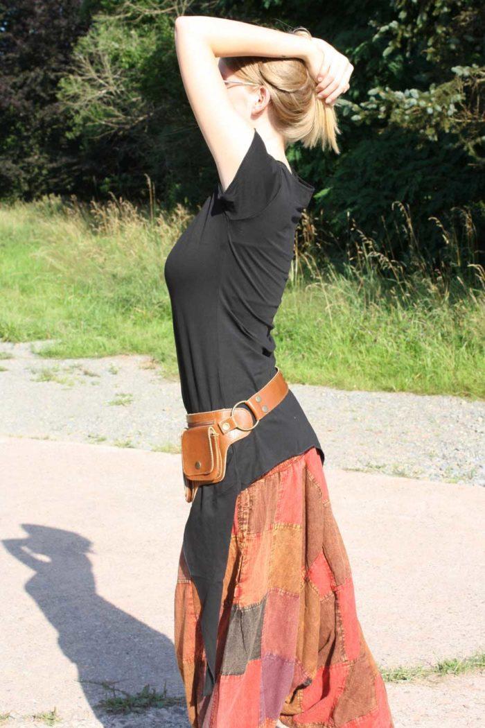 Zipfel-Oberteil Elfenshirt Hippie-Top Damen Schwarz