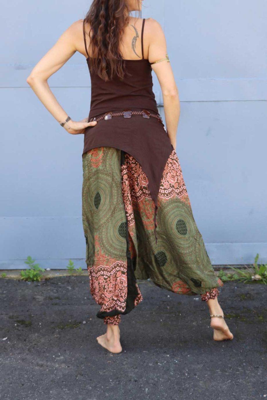 Alibaba Haremshose Hosenkleid Damen Grün |Braun