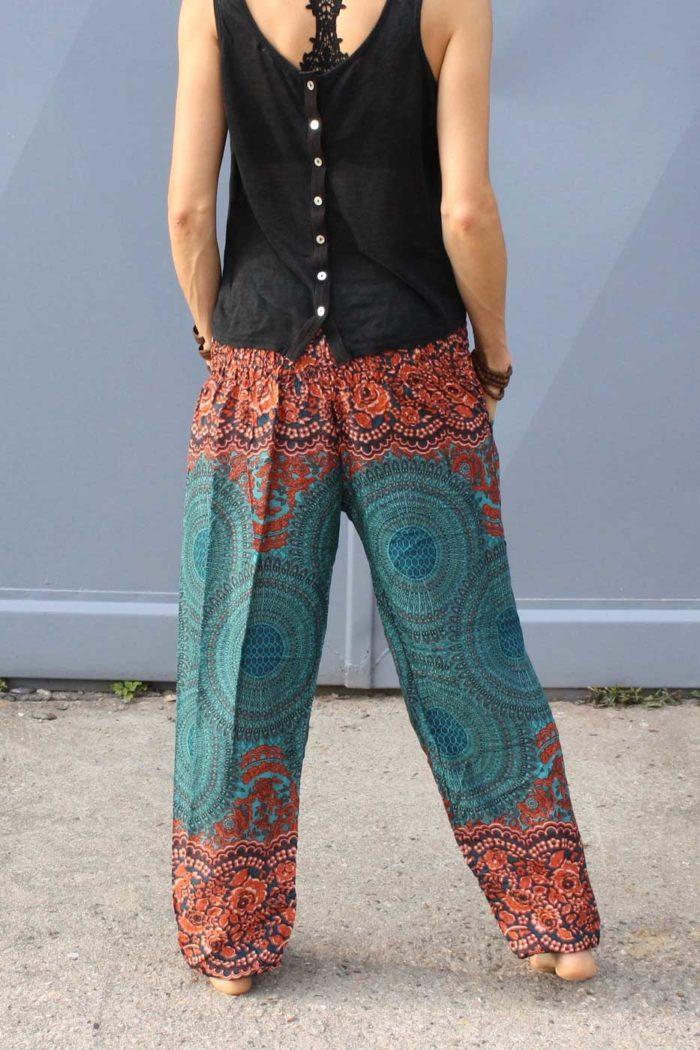 Luftige Pumphose Yogahose Damen Türkis | Orange