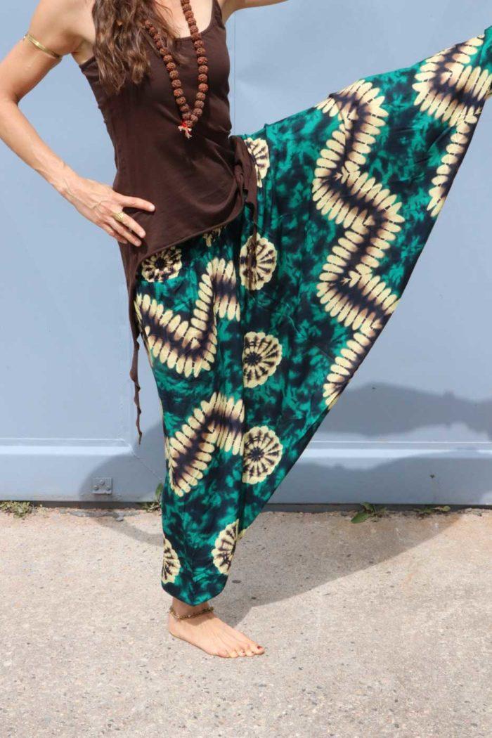 Alibaba Haremshose Hosenkleid Damen Grün | Braun | Batik