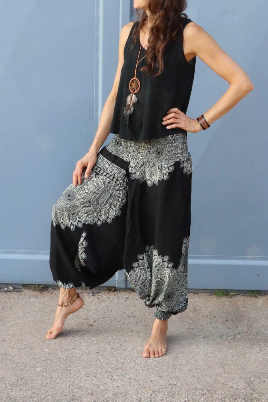 3a79cef292 Alibaba Haremshose Hosenkleid Damen Schwarz | Beige - LaCozy Onlineshop