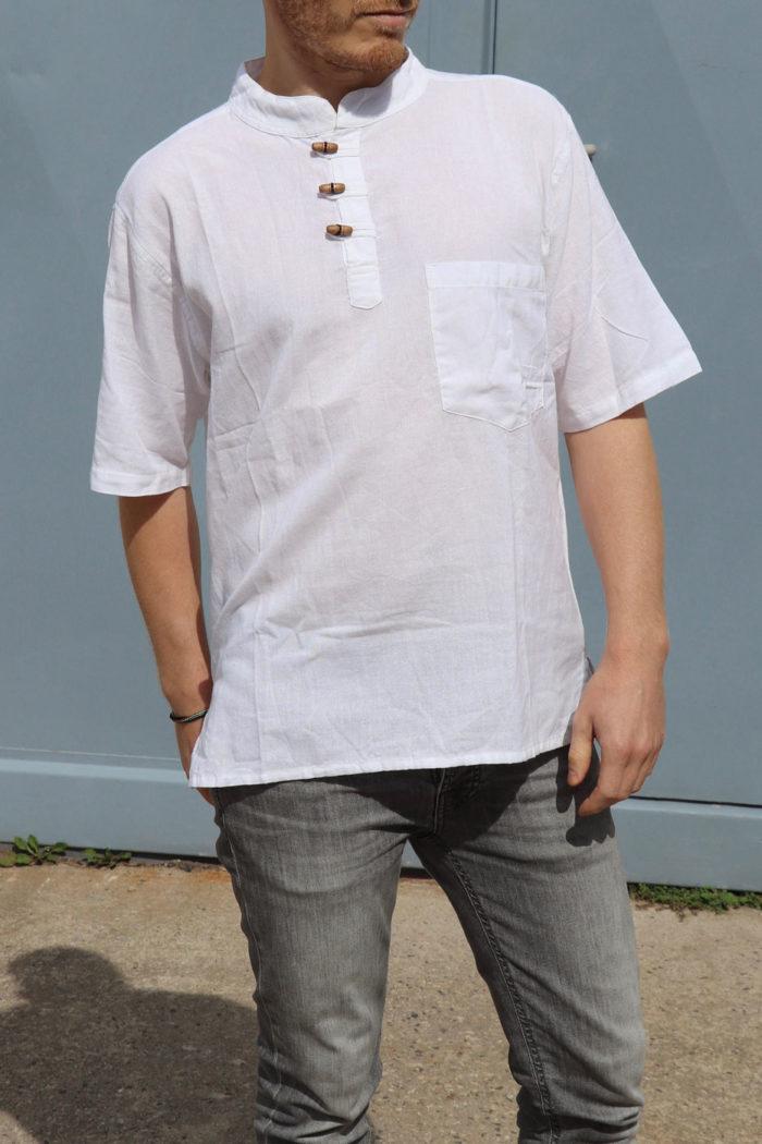 Kurzarm Herren-Hemd Fisherman Kurtha Herren Weiß