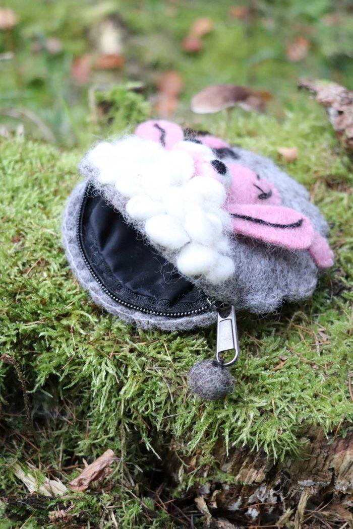 Filztäschchen Schaf MOLLY  grau | rosa
