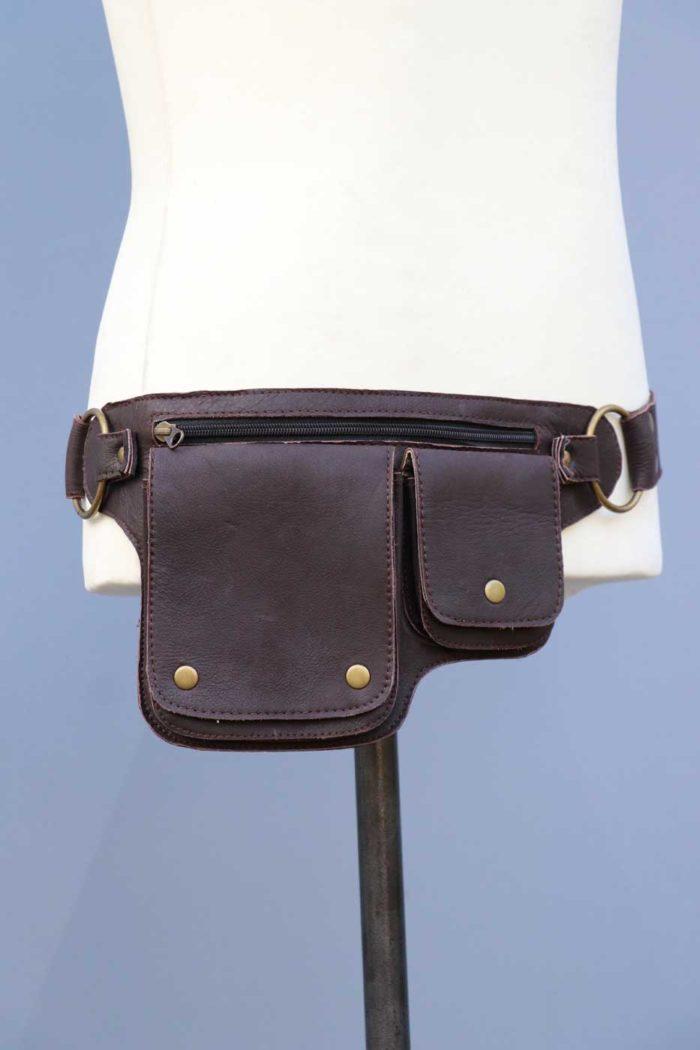 Gürteltasche aus Leder Hüfttasche Unisex Dunkelbraun
