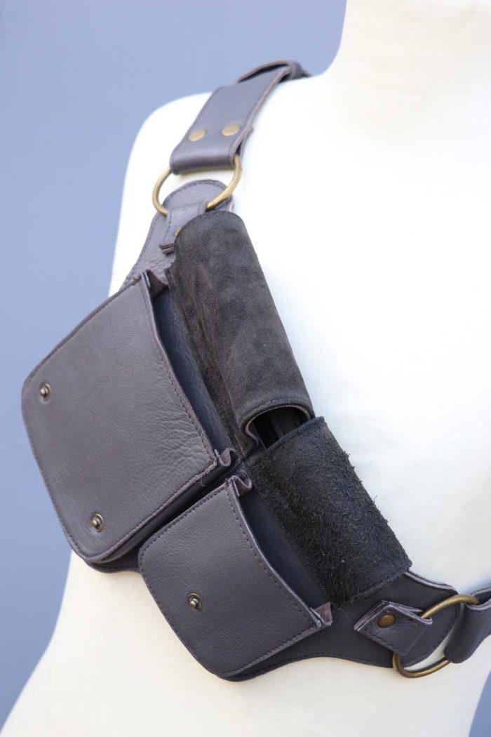 Gürteltasche aus Leder Bauchtasche Unisex Grau
