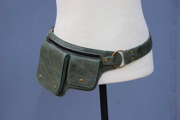 Gürteltasche aus Leder Bauchtasche Unisex Grün