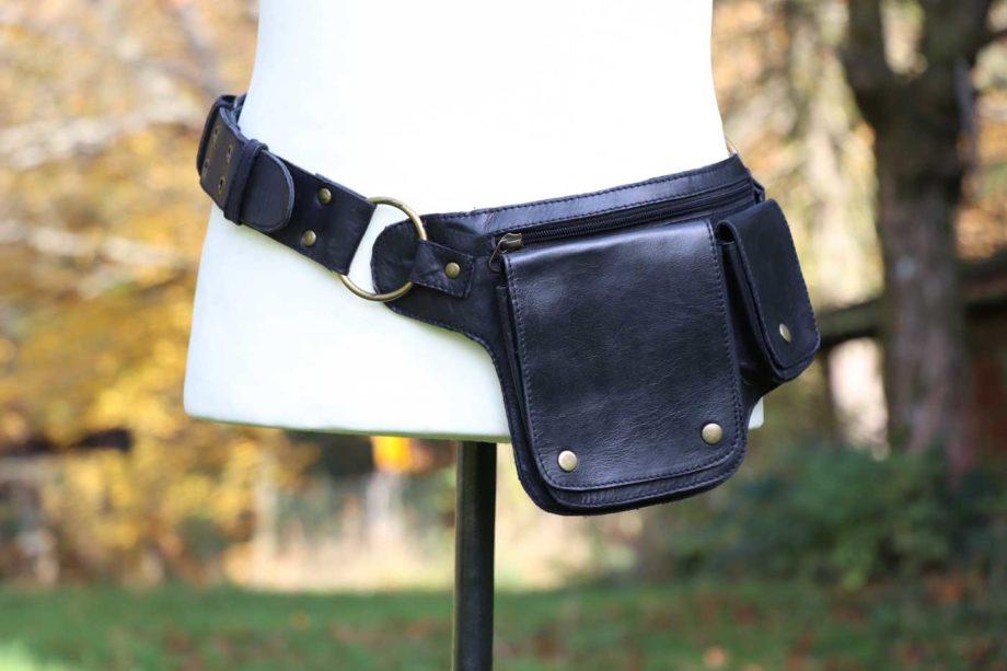 Gürteltasche aus Leder Bauchtasche Unisex Schwarz