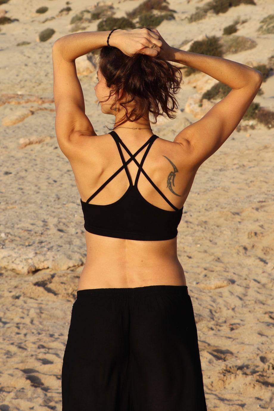 Yoga Top CROSS Bustier Oberteil Damen Schwarz