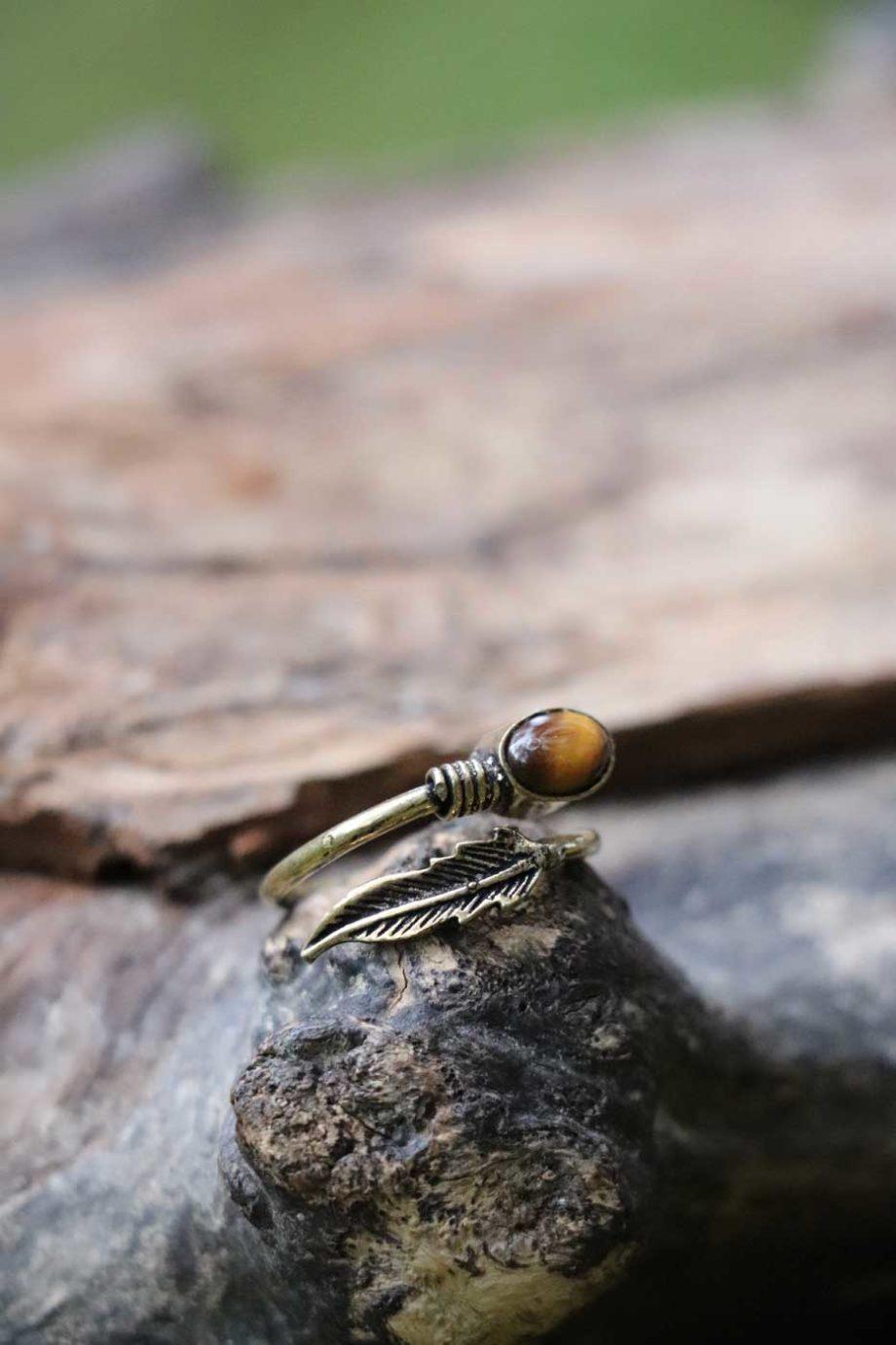 Ring FEDER mit Tigerauge  Gold | Braun