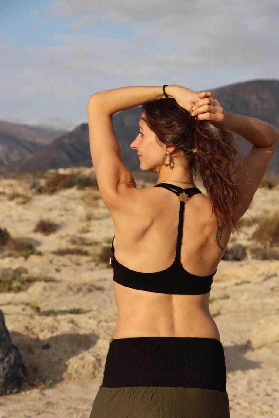 Yoga Sport Oberteil FLOWER OF LIFE Bustier Top Damen Schwarz
