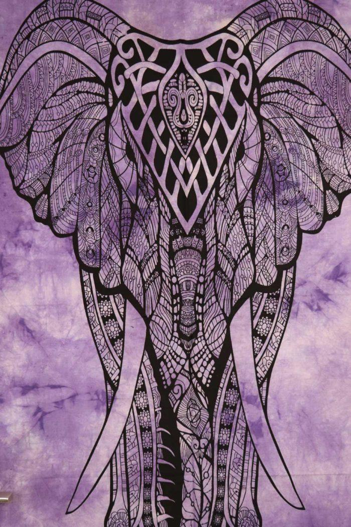 Wandbehang MANDALA ELEFANT  Lila | Batik