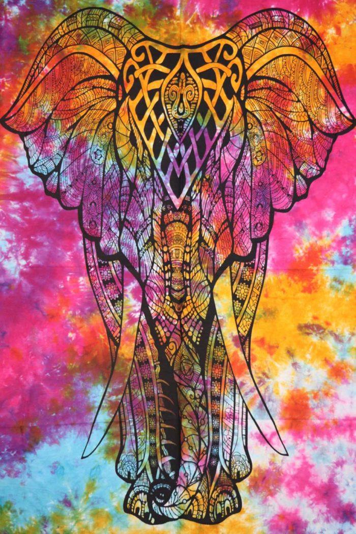 Wandbehang MANDALA ELEFANT  Bunt | Batik