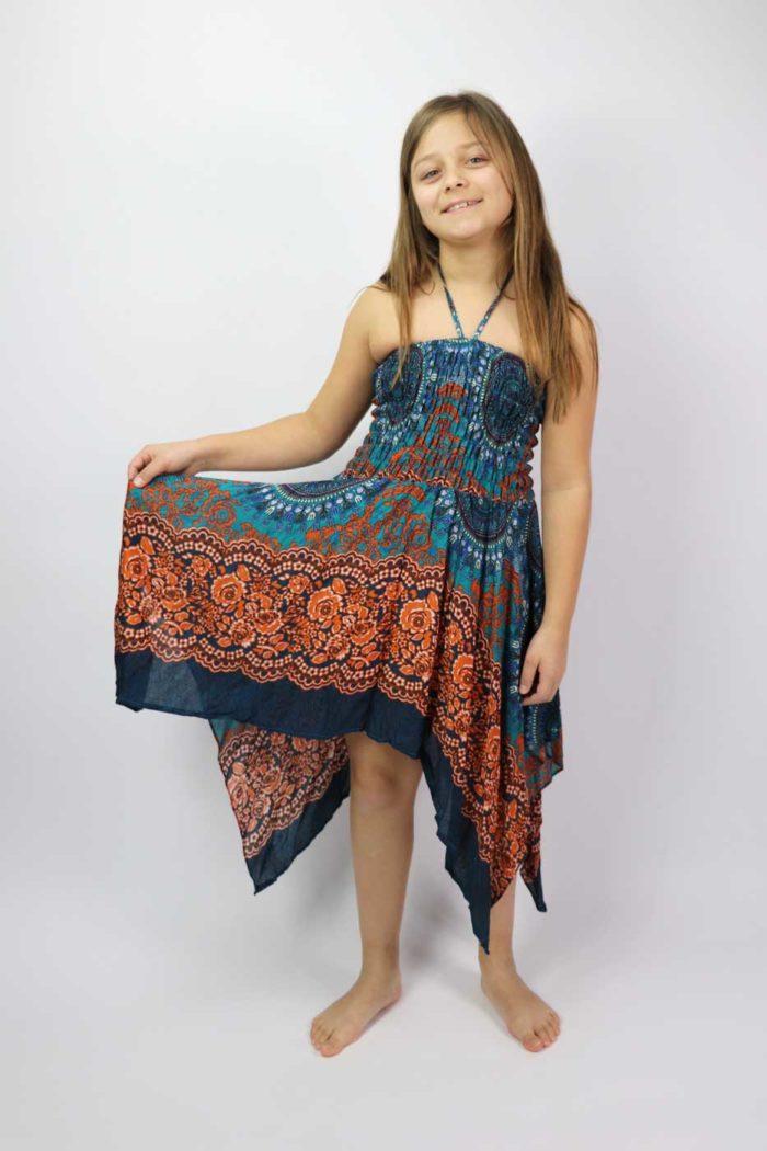 Zipfelkleid / Rock Mädchen Türkis | Orange