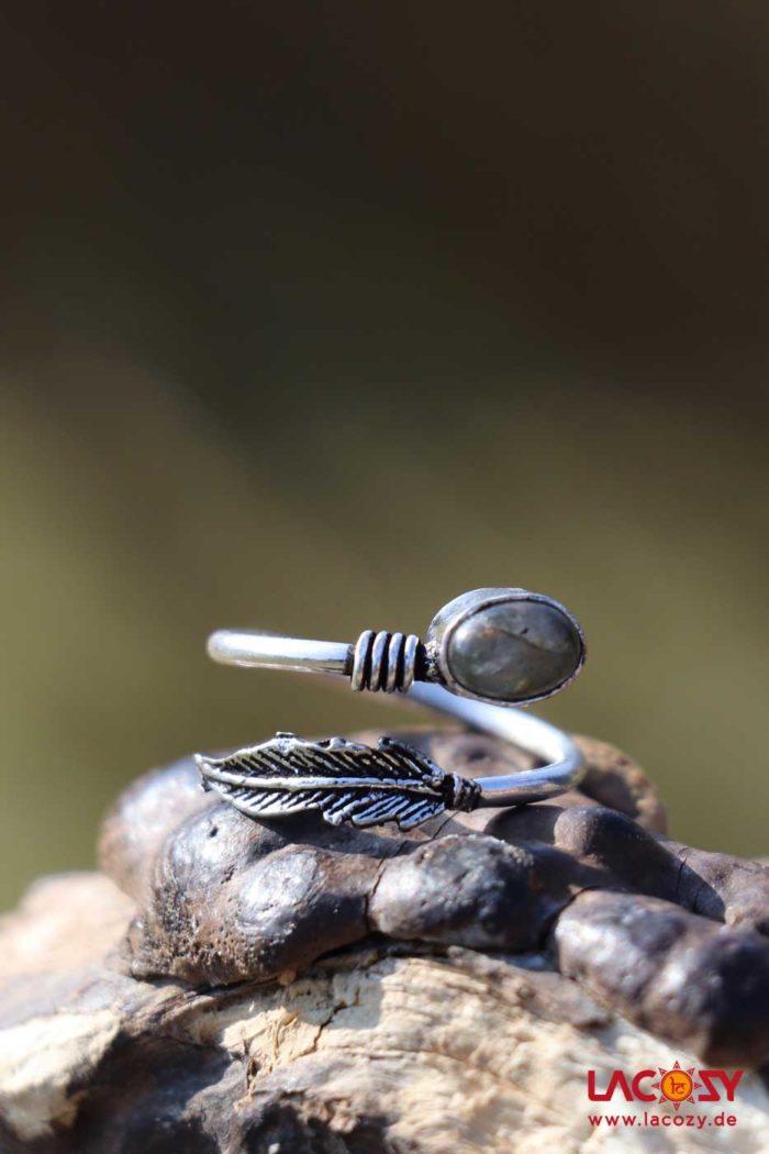 Ring FEDER mit Labradorit  Silber | Labradorit