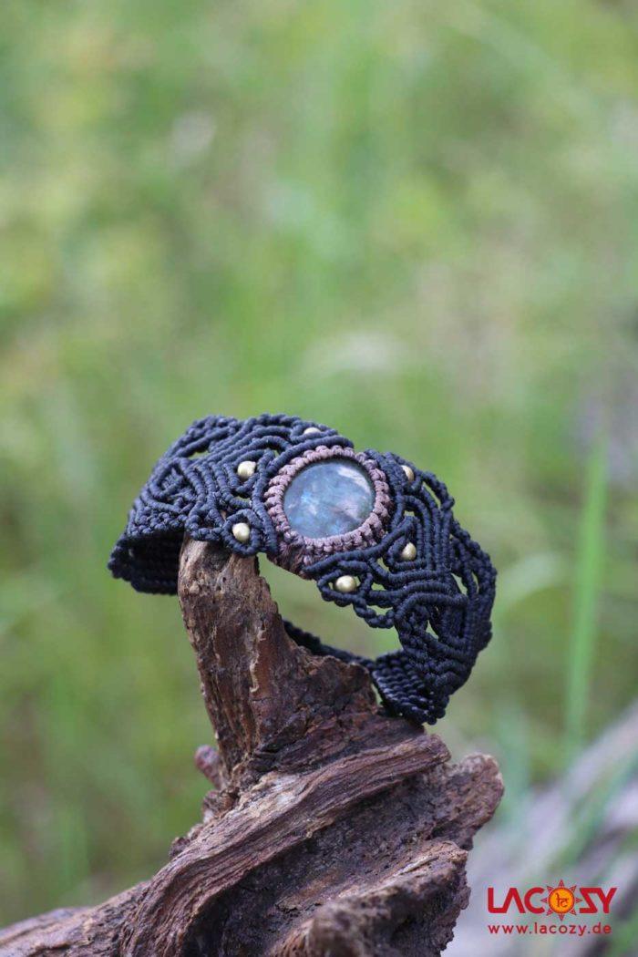 Makrame Armband LABRADORIT  Schwarz | Gold