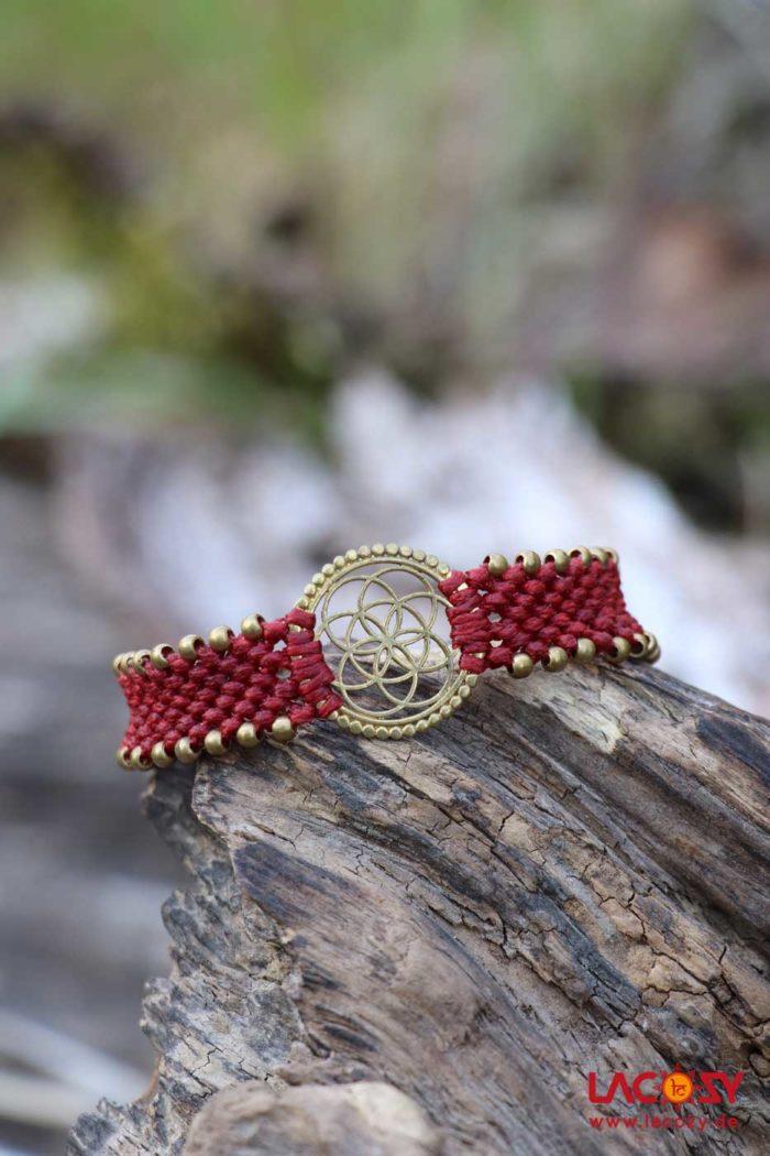 Makrame Armband BLUME DES LEBENS  Rot | Gold