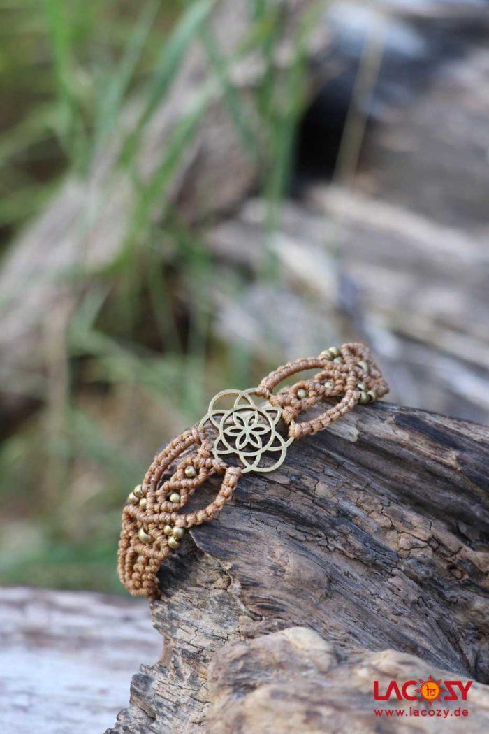 Makrame Armband SAMEN DES LEBENS  Natur | Gold