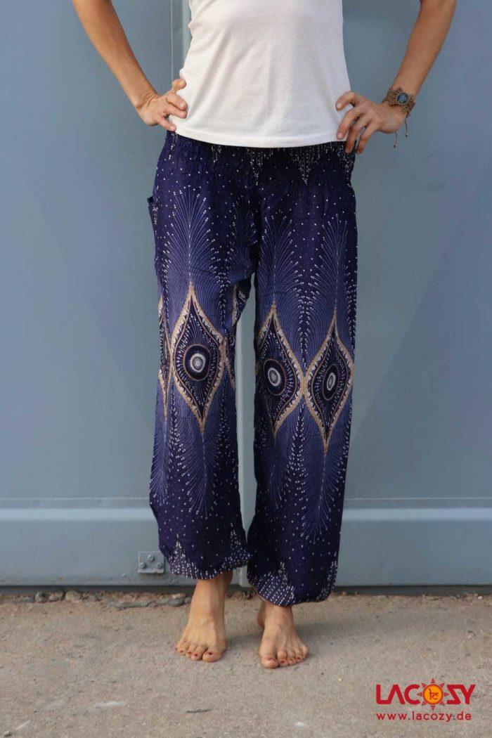 Luftige Pumphose Yogahose Damen Blau | Weiss