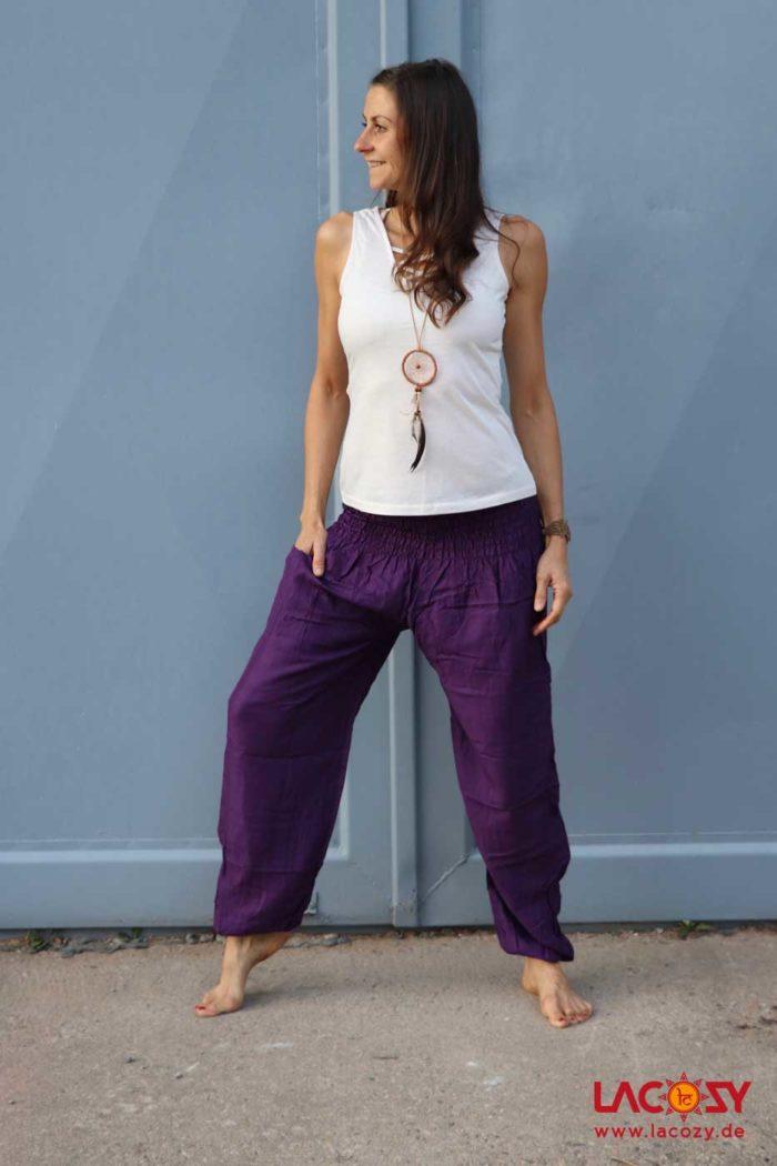 Luftige Pumphose Yogahose Damen Lila