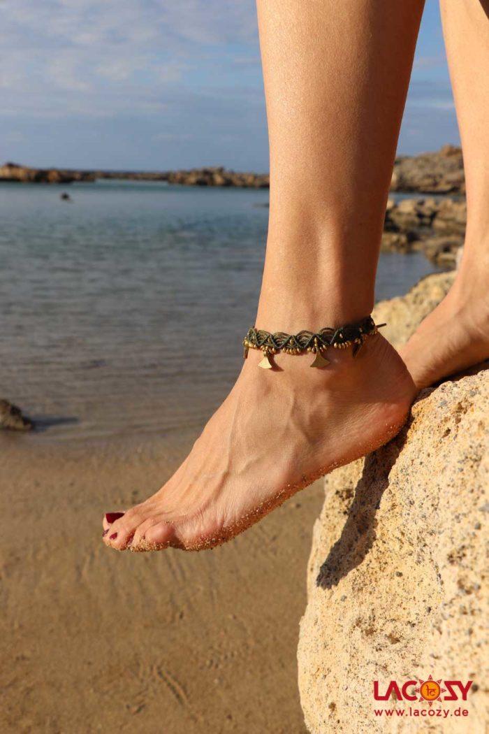 Makrame Fußkettchen AMBOS  Khaki | Gold