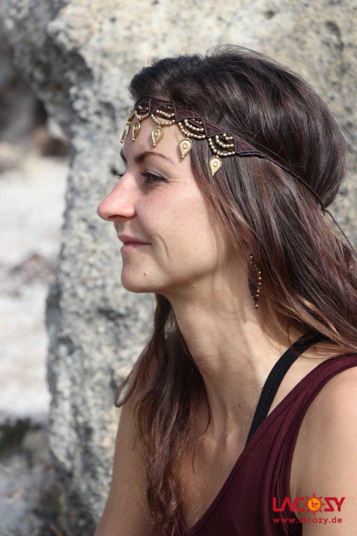 Makramee Stirnband/ Kette/Tiara  Braun | Gold