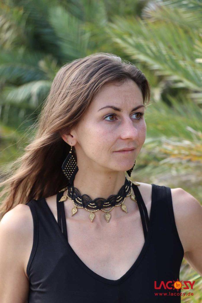 Makramee Stirnband/ Kette/Tiara  Schwarz   Gold