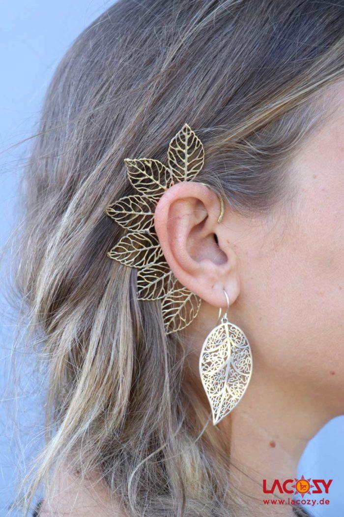 Ohr Manschette  Elfen Ohrring  NATURE  Gold