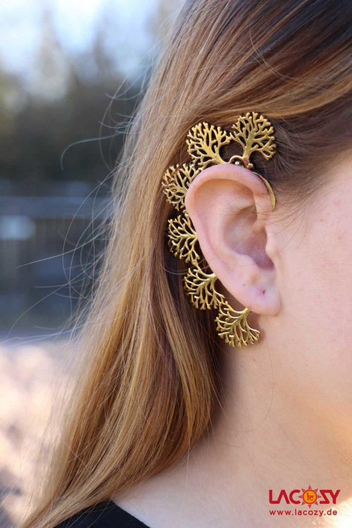 Ohr Manschette  Elfen Ohrring  TREE  Gold