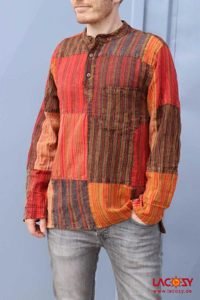 Patchwork Hemd Herren Rot | Orange