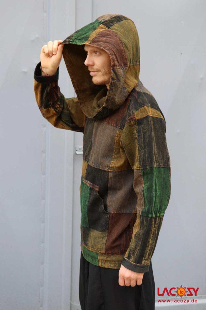 Patchwork Hoodie Herren-Hemd Herren Grün