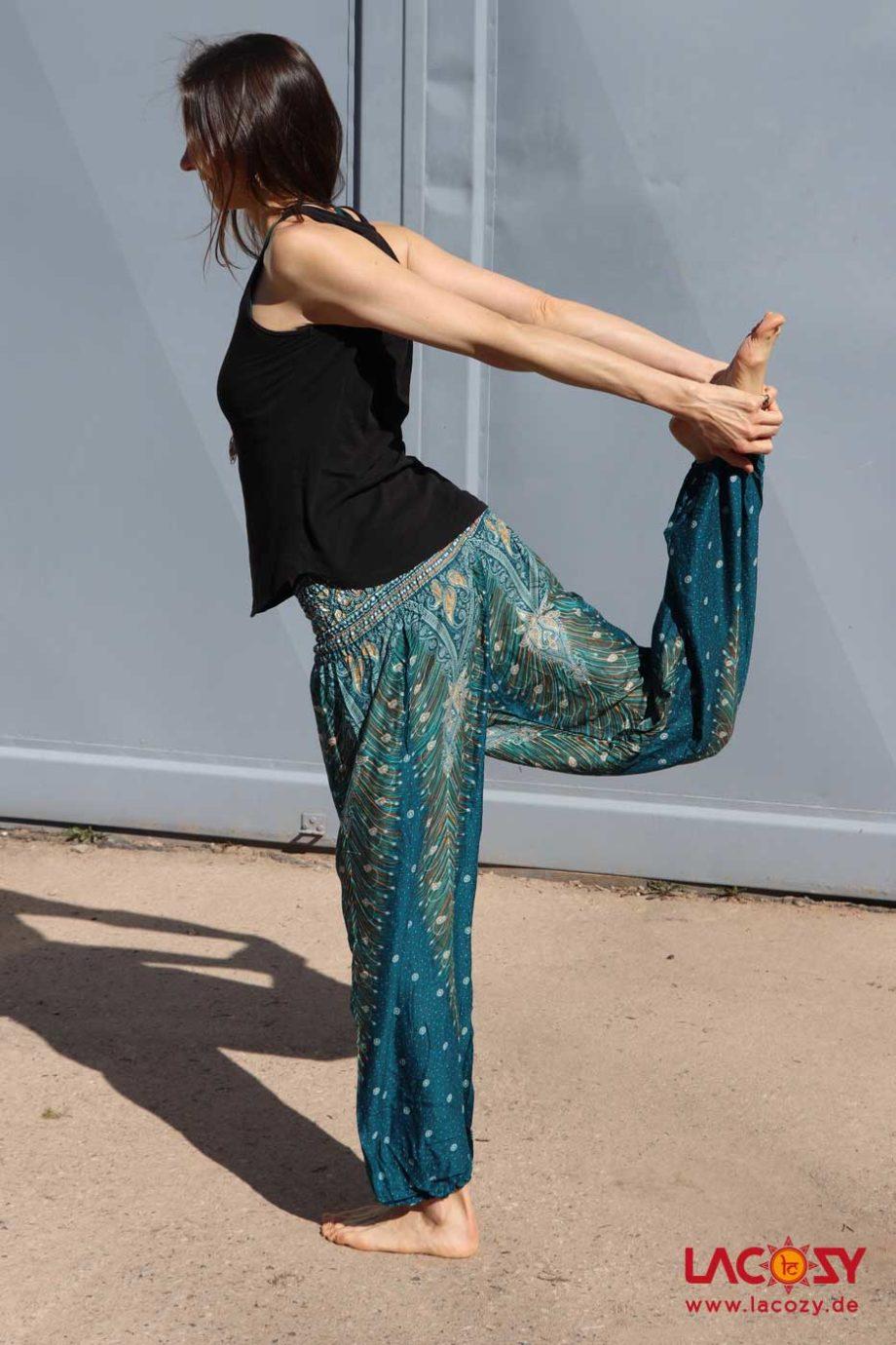 Luftige Pumphose Yogahose Damen Petrol