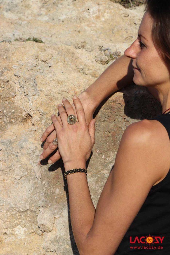 Ring BLUME DES LEBENS mit Tigerauge  Gold | Braun