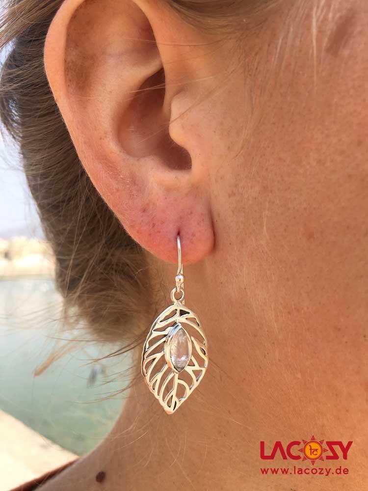 Ohrringe HOJA mit Mondstein  925er Silber
