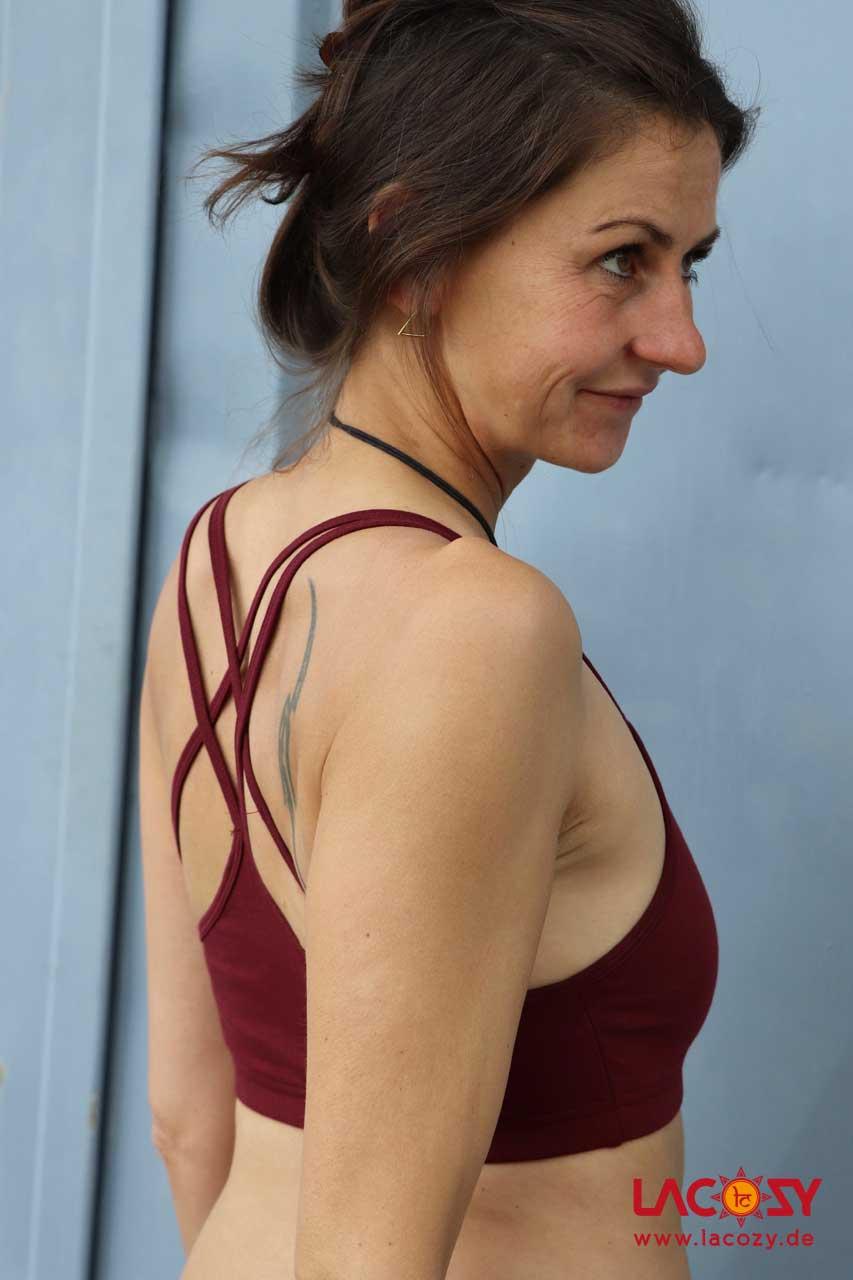 Yoga Top CROSS Bustier Oberteil Damen Bordeaux