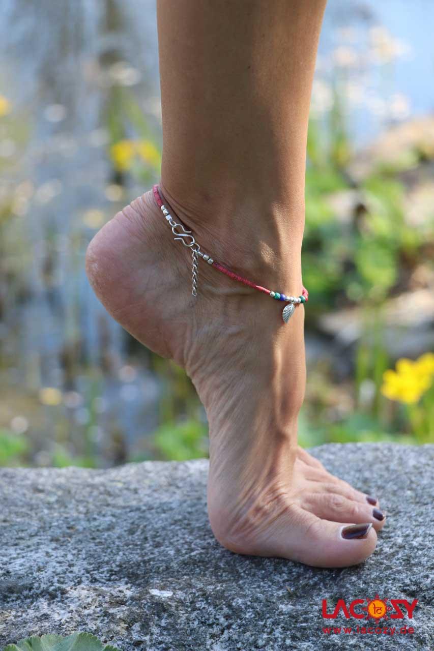 Fußkettchen BLATT  Rot | Silber