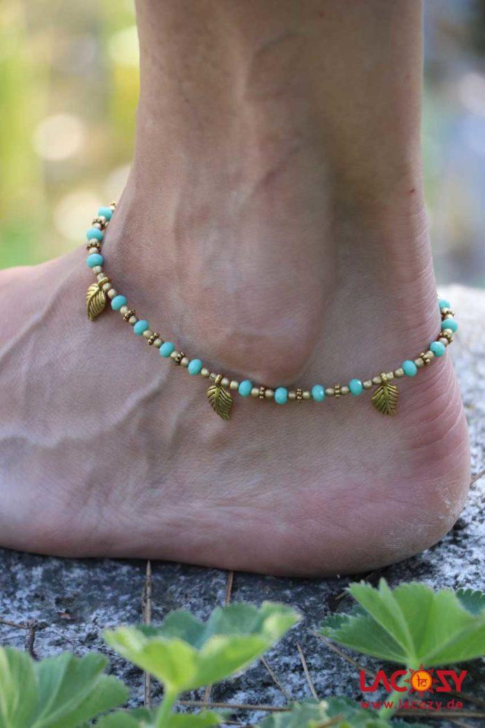 Fußkettchen BLATT  Tuerkis | Gold