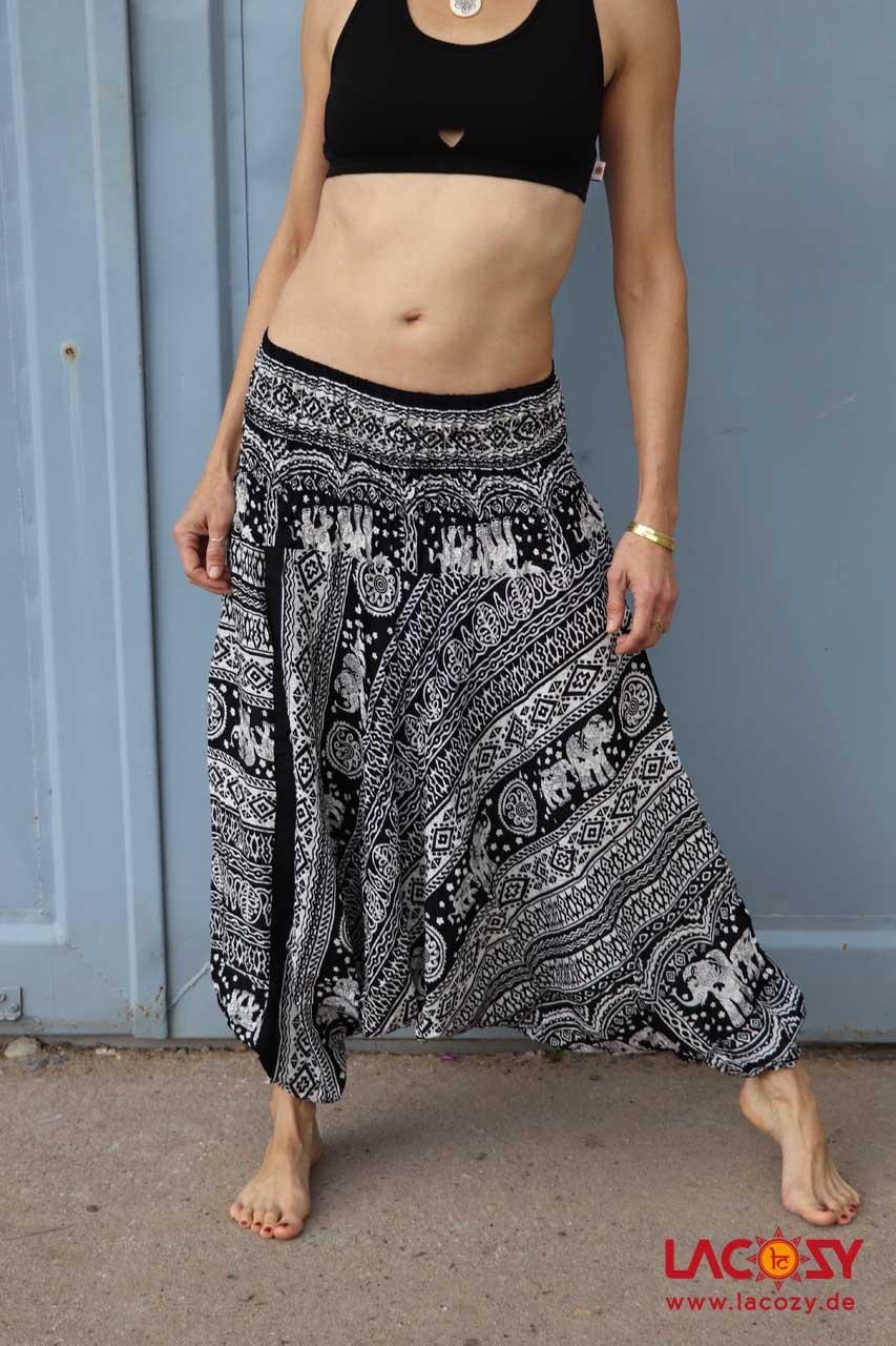 Alibaba Haremshose Hosenkleid Damen Schwarz   Weiß