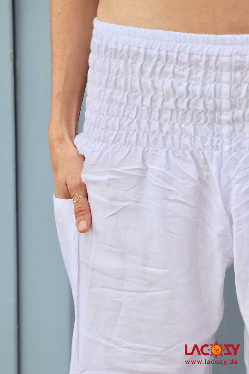 Luftige Pumphose Yogahose Damen Weiß