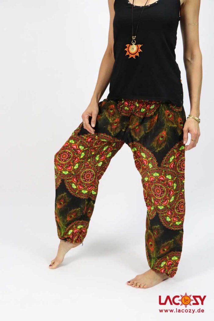 Luftige Pumphose Yogahose  MANDALA Damen Schwarz | Orange