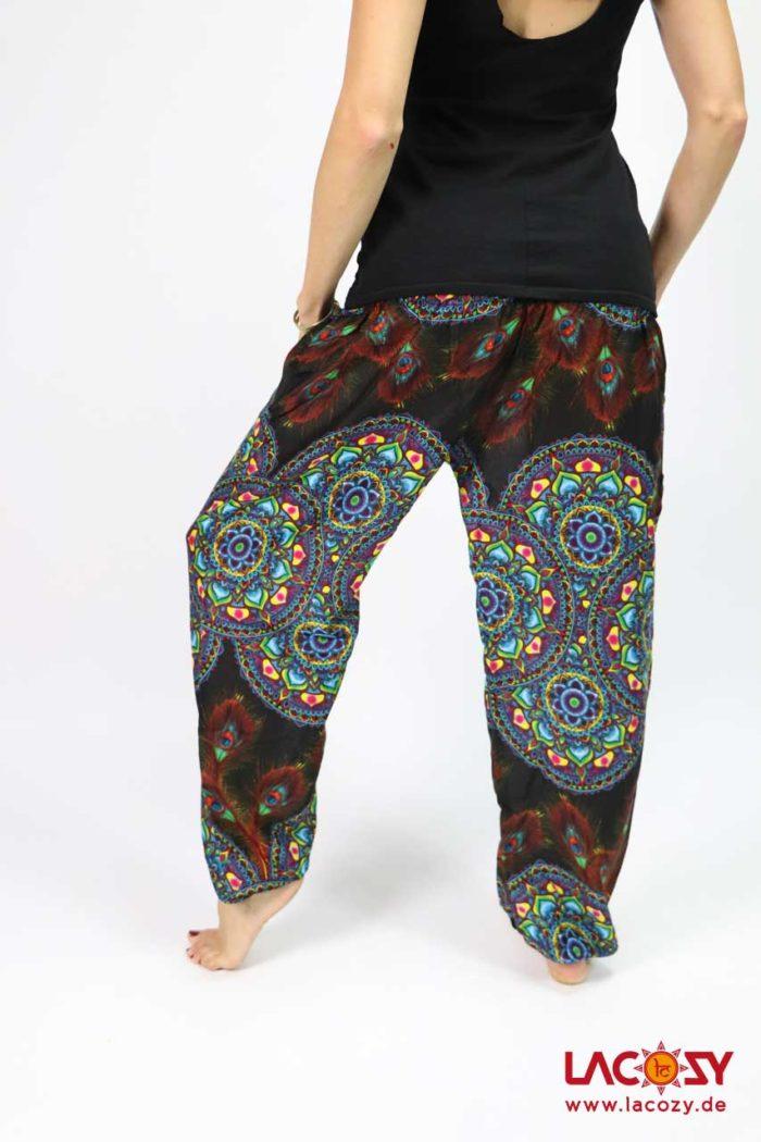 Luftige Pumphose Yogahose  MANDALA Damen Schwarz | Türkis
