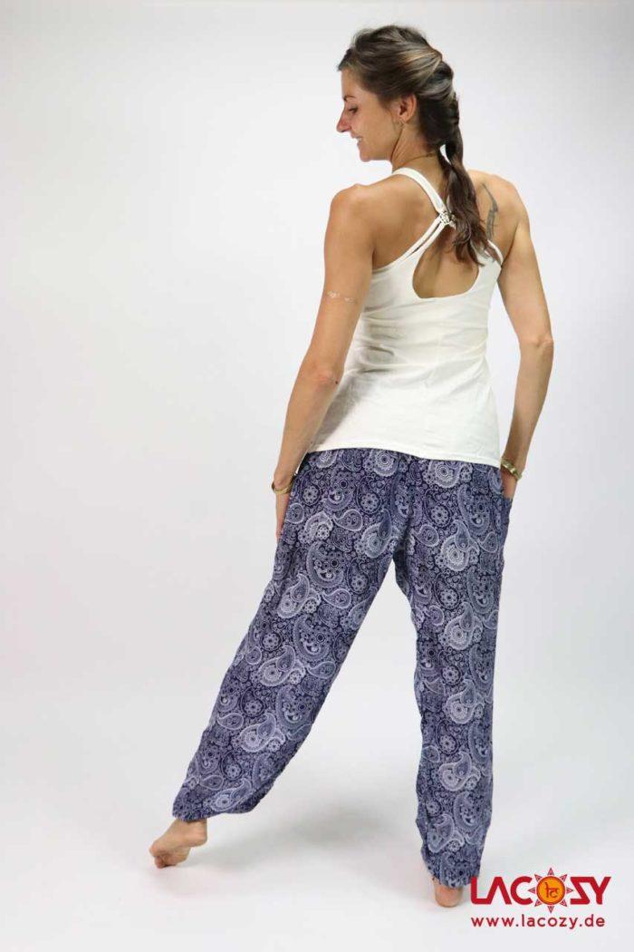 Luftige Pumphose Yogahose  PAISLEY Damen Marine | Weiß