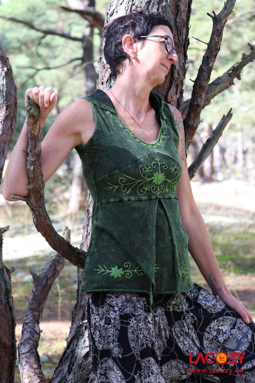 Elfen  Oberteil mit Zipfelkapuze Damen Grün