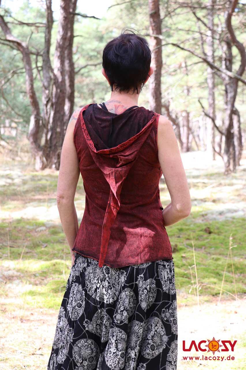 Elfen  Oberteil mit Zipfelkapuze Damen Rot