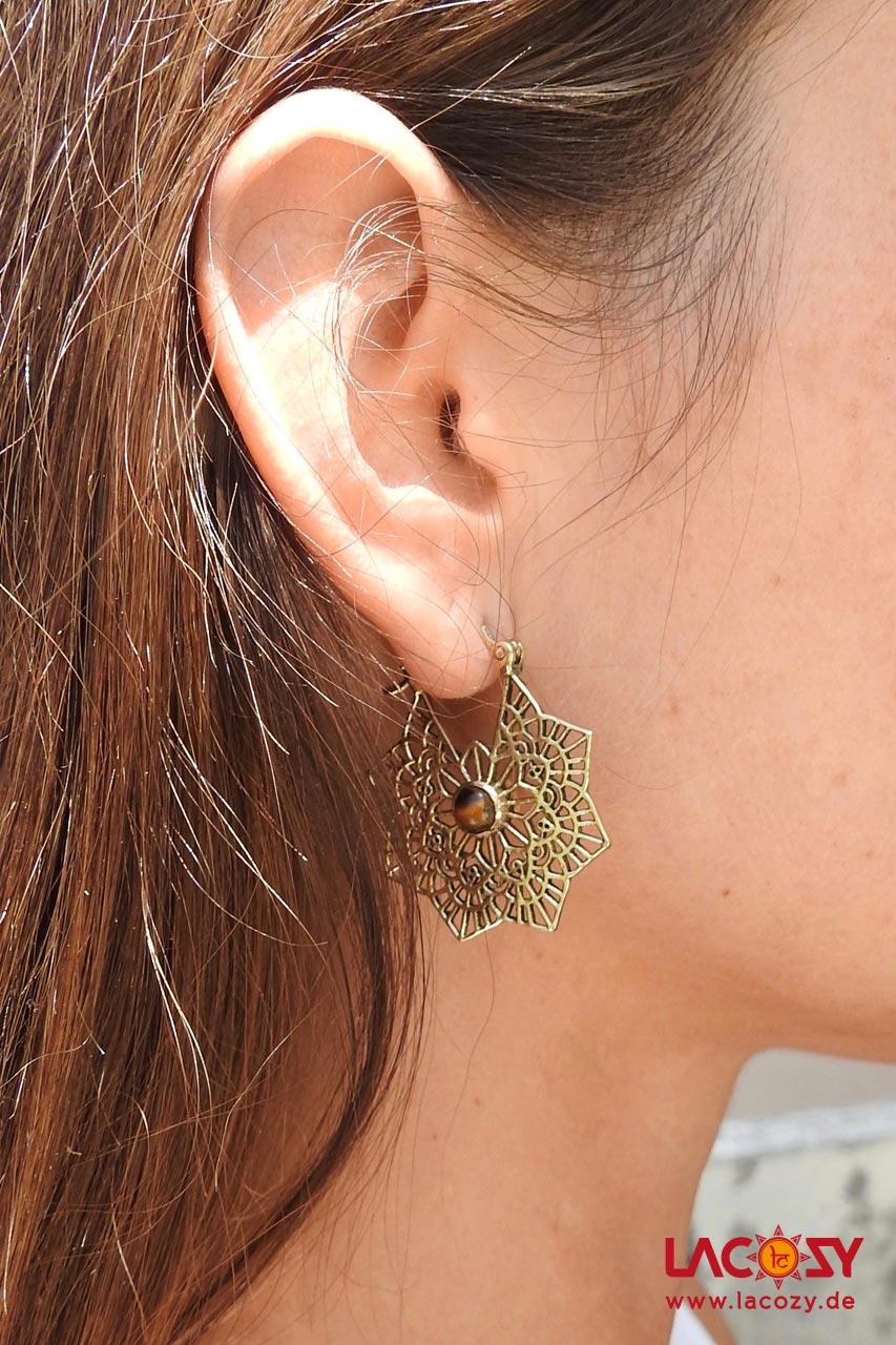 Ohrringe MANDALA mit Tigerauge  Gold