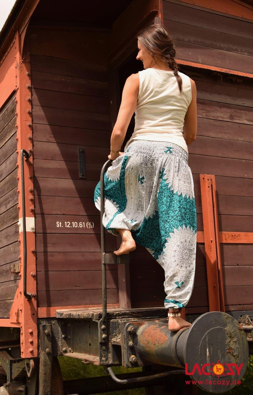 Haremshose  Hosenkleid MANDALA Damen Türkis   Weiß